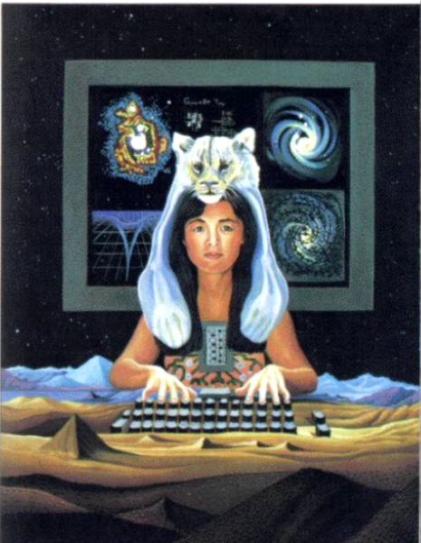 Shamanic meso-american woman playing the earth as a computer keyboard